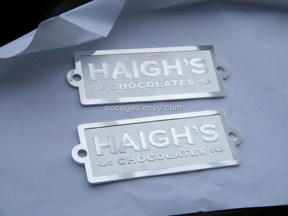 Label Furniture Badge Aluminum Name Plate Embossed Metal Logo Name