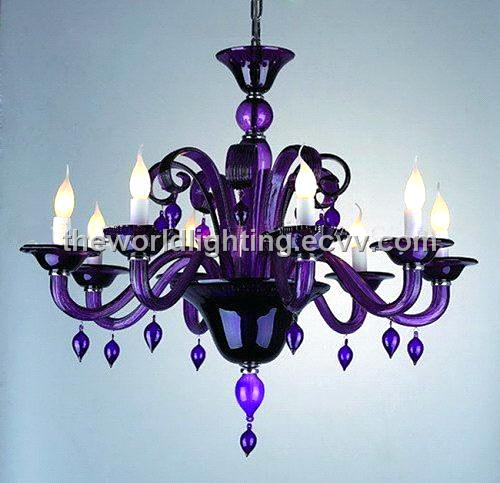 HBSJ0169Black Metal Stand Glass Candle Shape Chandelier HBSJ0169 – Purple Chandelier Lighting