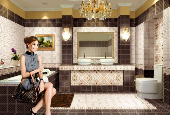 Glazed ceramic bathroom tile