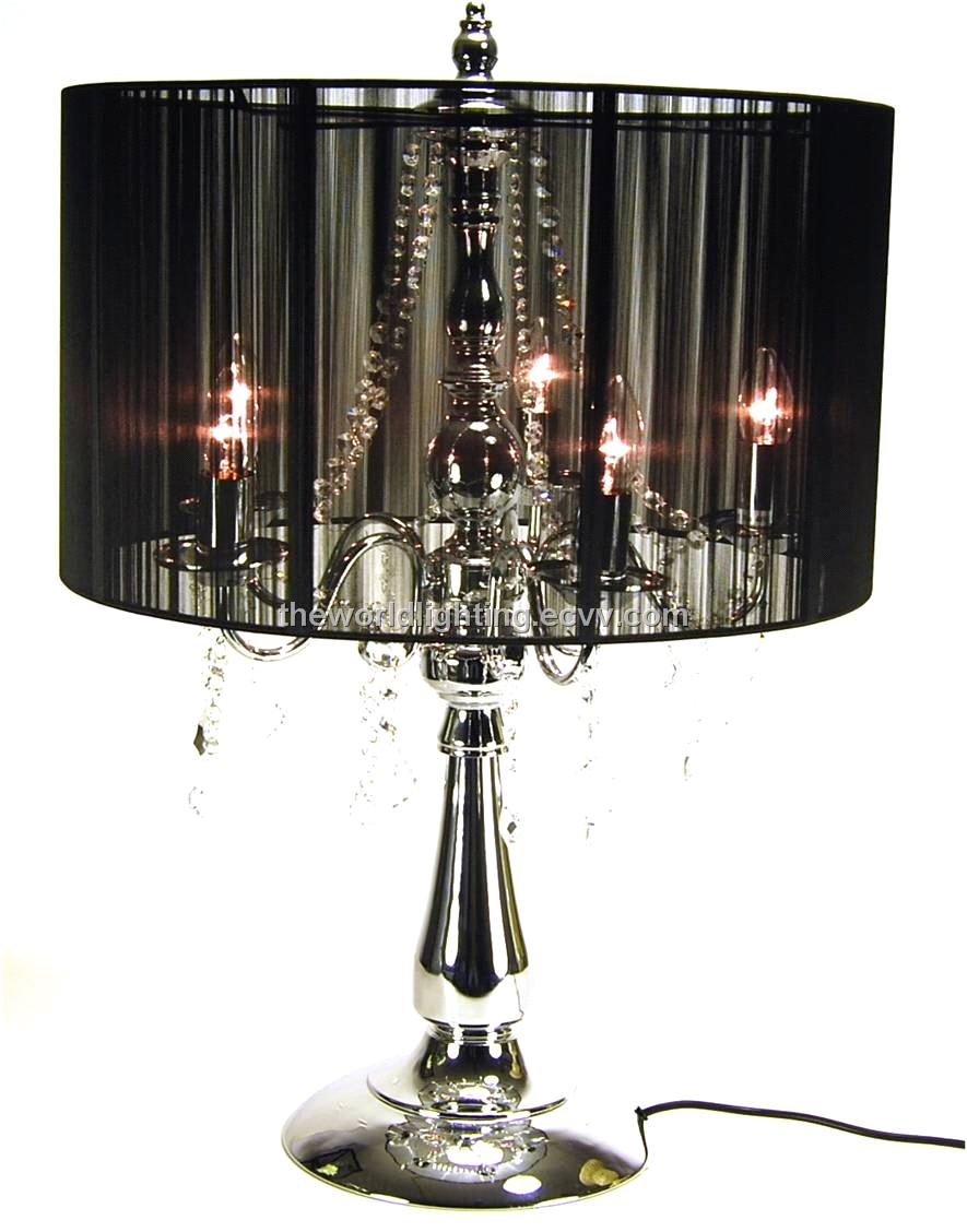 SC1067B Chrome Metal Stand Black Fabric Cover Crystal Chandelier Decoration Table  Lamp