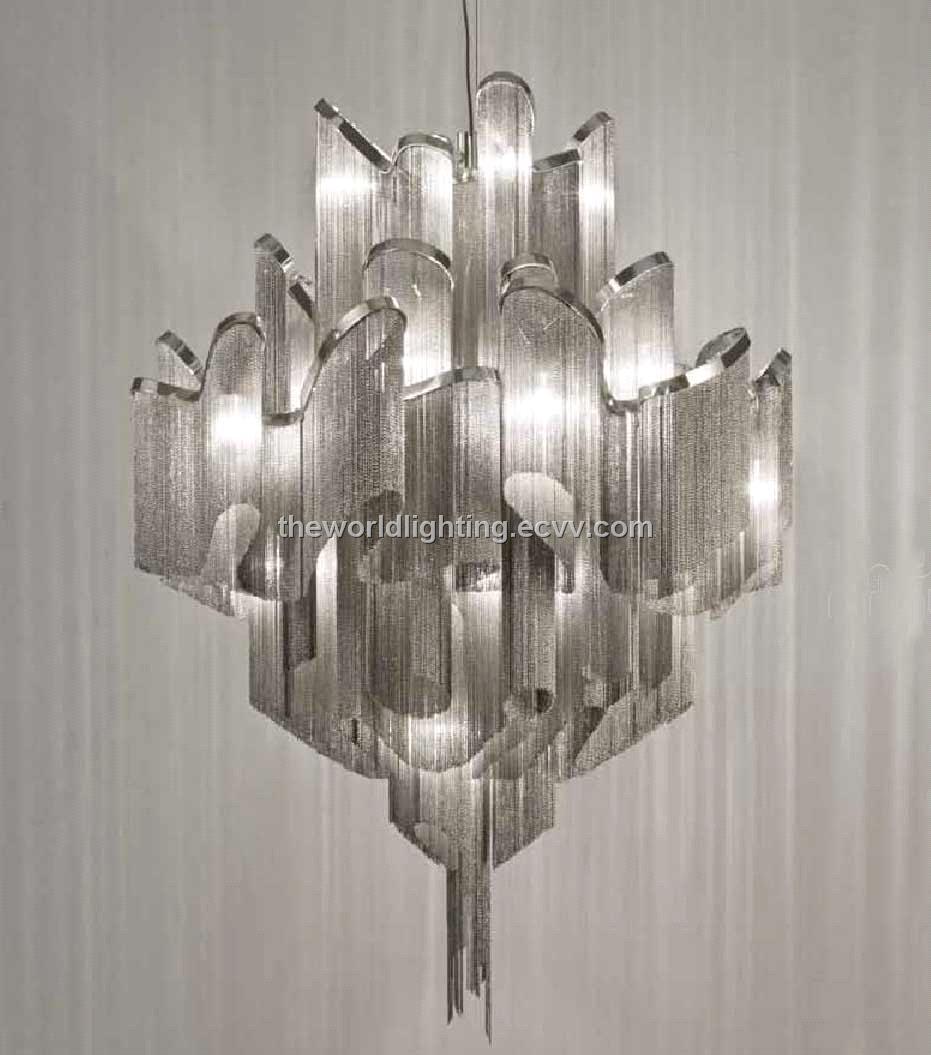 Modern Iron Chandeliers: Td 120518 Chrome Metal Stand Silver Fabric Modern Iron Chandelier,Lighting