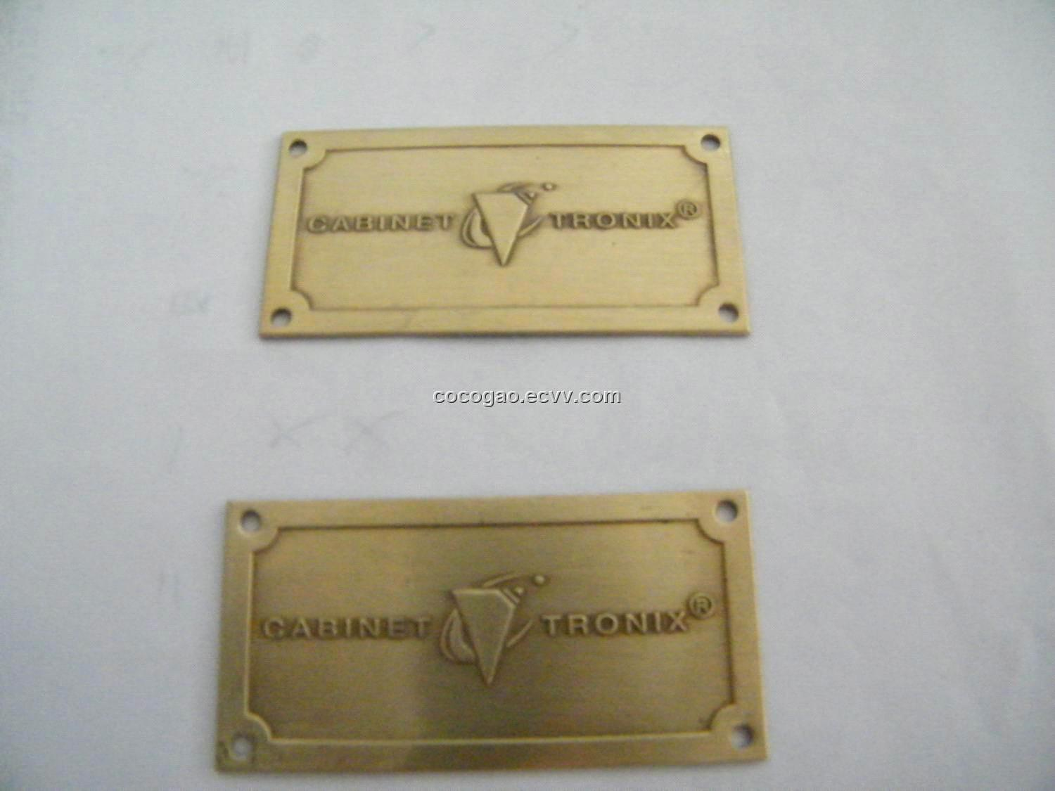 Metal Badge Adhesive Metal Label Custom Furniture Label Brass Logo