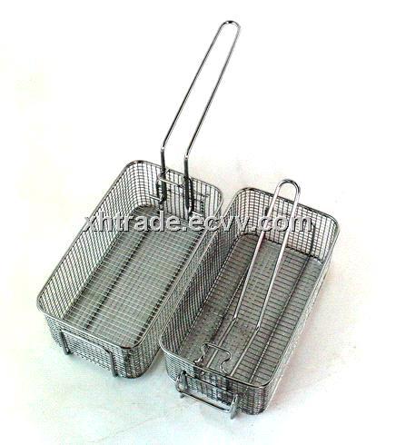 Handle Folding Fryer Basket,Stainless Steel Mesh Fryer Basket,