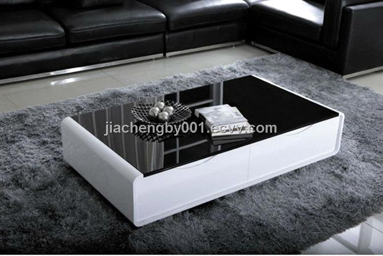 High glossy black glass and white mdf coffee table for Black and white glass coffee table