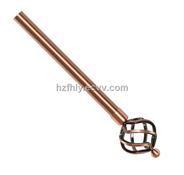 Big twist copper finial iron curtain rod china curtain rod fh