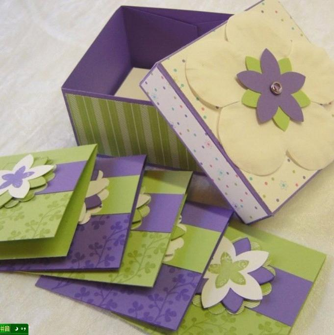 YART SALE Handmade Box and Matching Note Cards in Purple ...