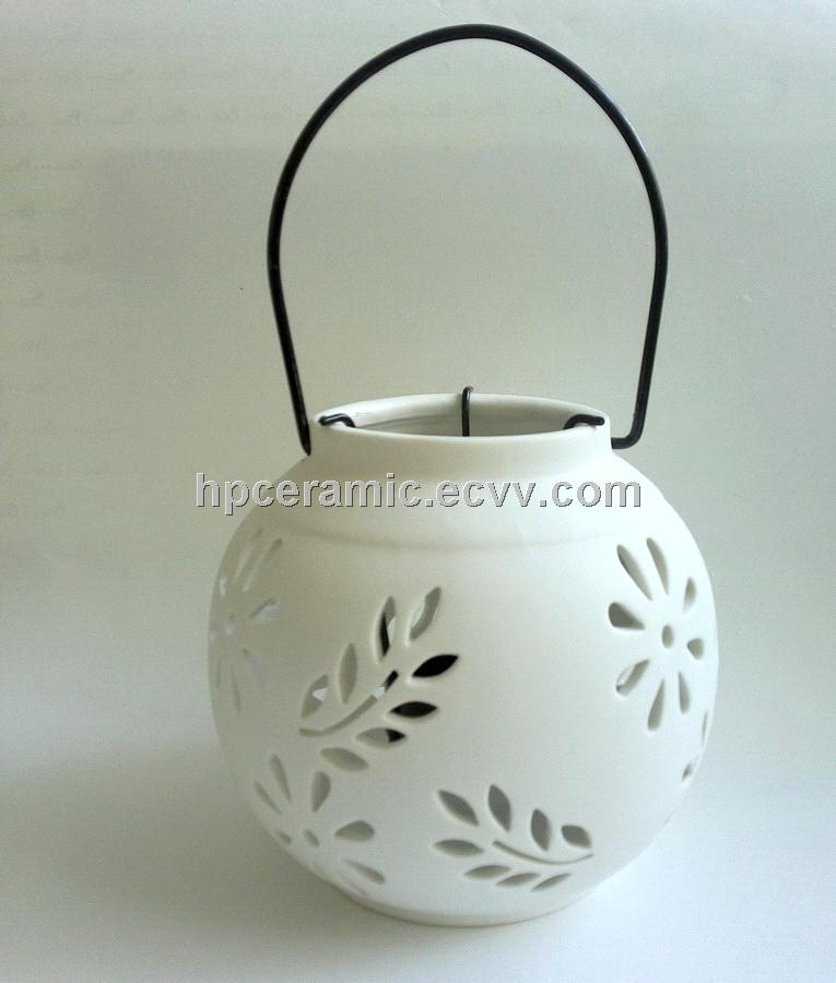 Small Leaves Cutout Ceramic Candle Lanterns Candle Lamps