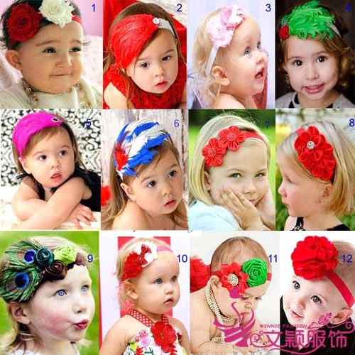 Baby Handmade colorful flower hair accessories/feather headbands for