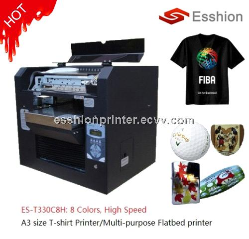 High quality 8 colors a3 size t shirt flatbed printer for Direct print t shirt printer