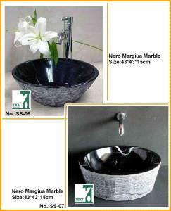 Stone Sink Basin, Bathroom Vanity Sink, Black Marble Sink, Washbasin, Round Bowl Pedestal Basin