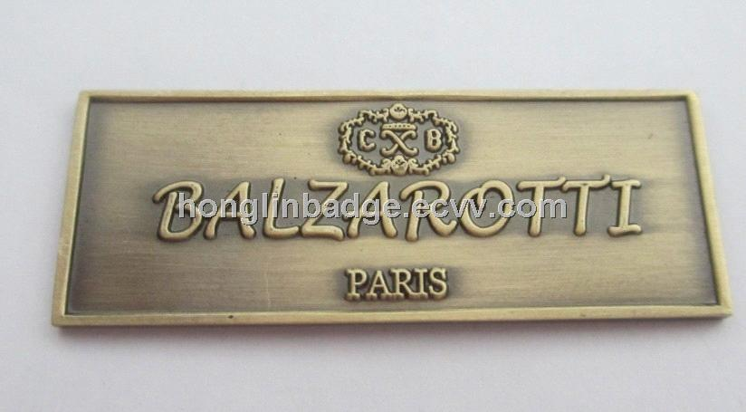 Embossed Metal Label Custom Metal Badge Brass Furniture Label Brass