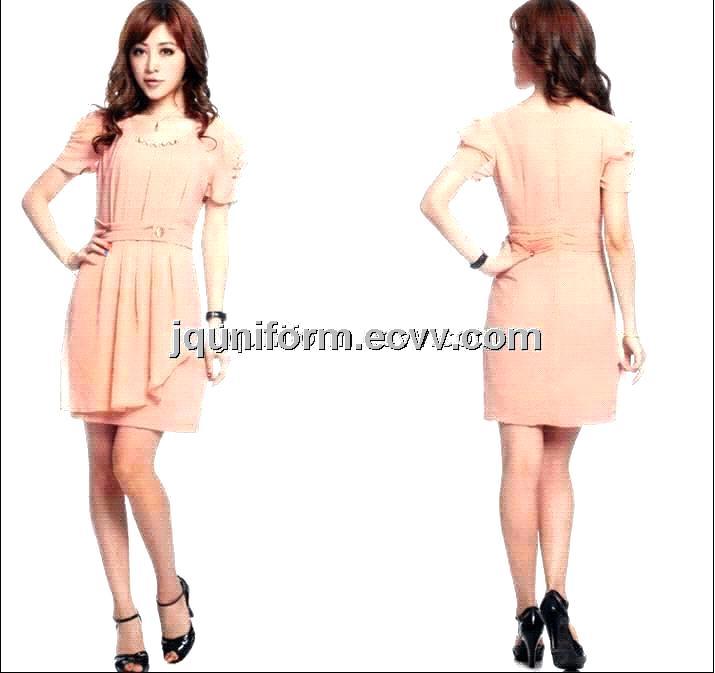 Fashional Elegant Short Sleeve Skirt, Anti-Pilling