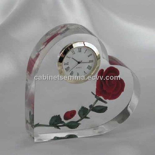 ... > Holiday Gifts Crystal Red Rose Clock Wedding Anniversary Gifts