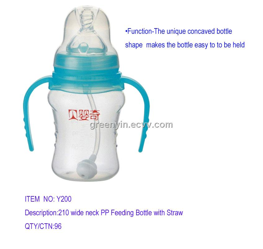 210ml wide neck PP Feeding Bottle With Straw