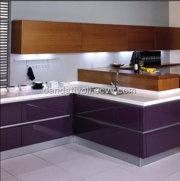 Kitchen Cabinet > purple lacquer kitchen with wood veener kitchen
