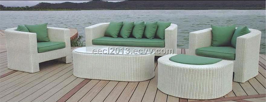 Steel wicker garden sofa set purchasing souring agent for Muebles terraza rattan pvc chile