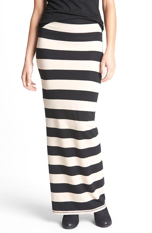 Gray and black striped maxi skirt – Modern skirts blog for you