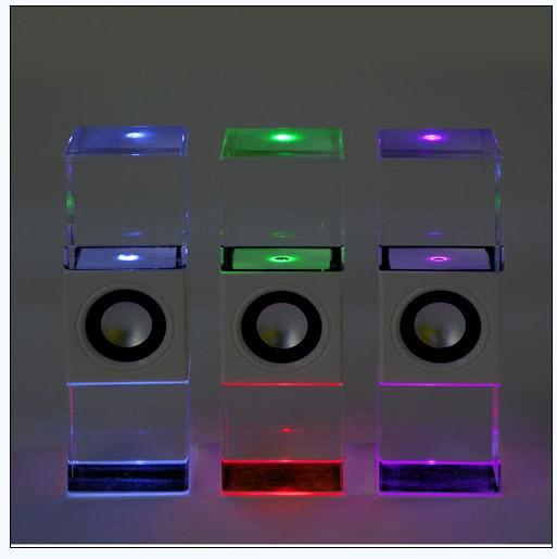 High Powered Mini Led Crystal Usb Speaker Subwoofer