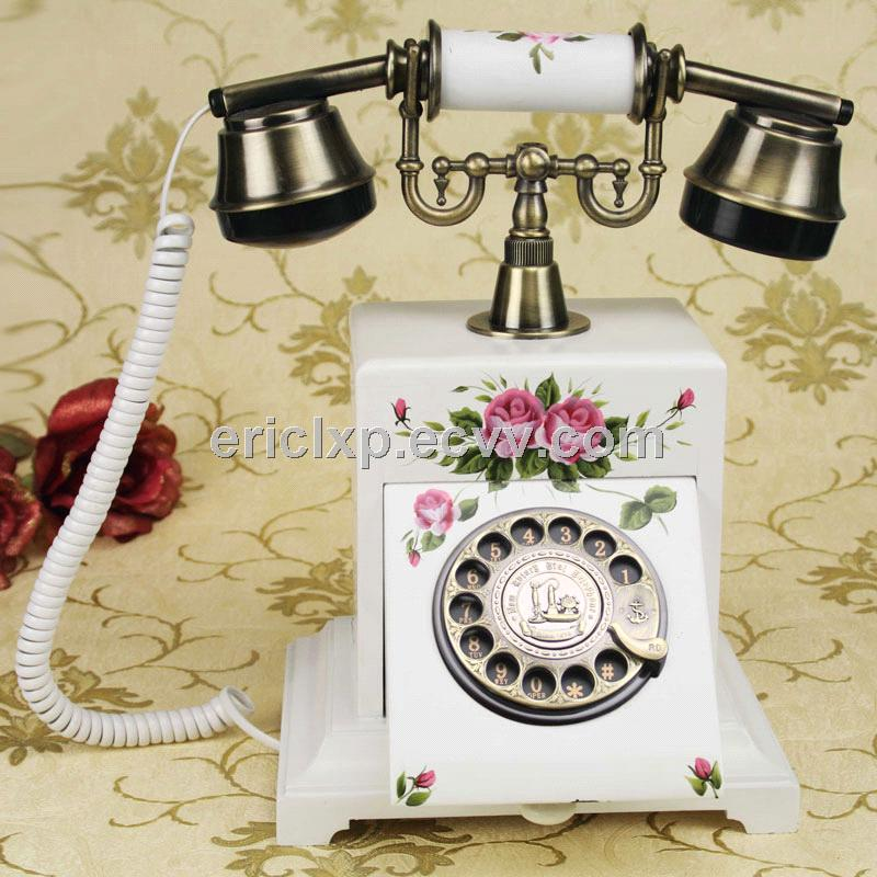 antique wooden rotary telephone,white color telephone,cy-503GZ
