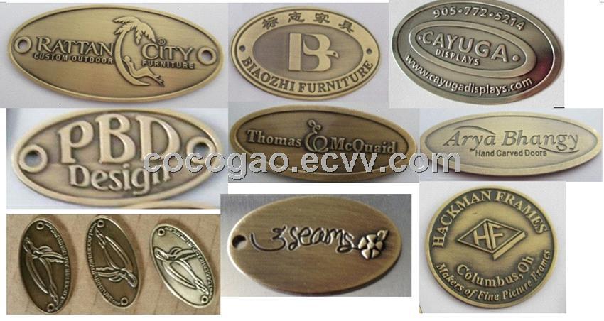 Custom Furniture Label Brass Logo Adhesive Label Brass Furniture Badge Embossed Metal Tag