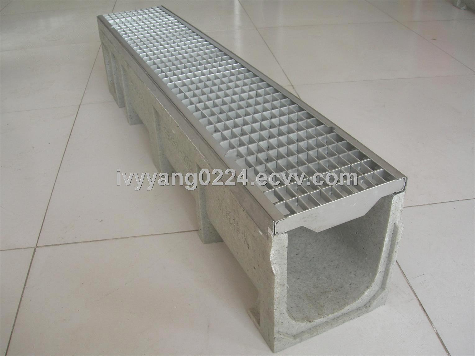 Polymer Concrete Trench Drain Drain System With Gratings