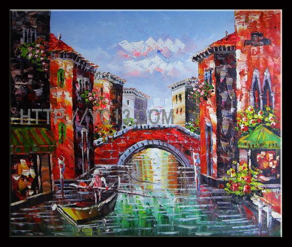 Venice Port Sailing Scenery Handmade Wall Art Oil Painting on Canvas & Venice Port Sailing Scenery Handmade Wall Art Oil Painting on Canvas ...