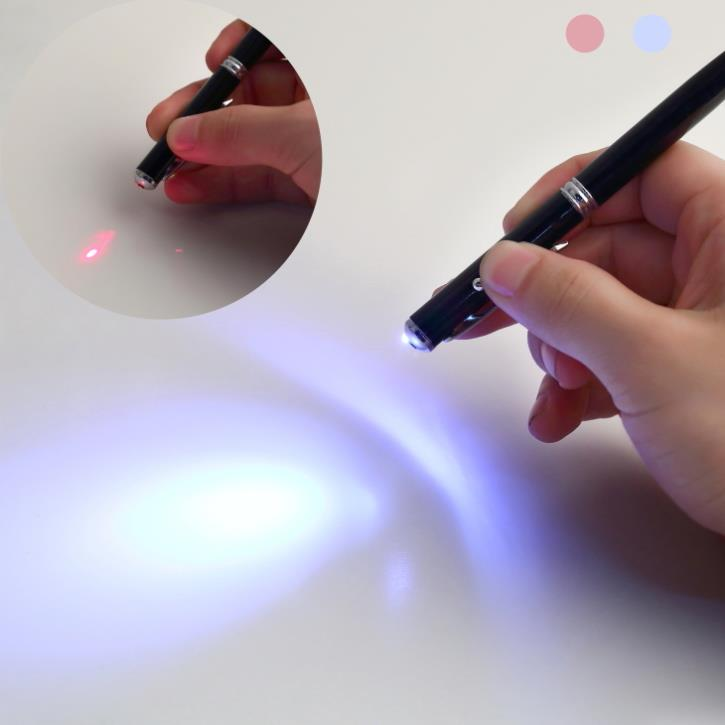 1pcs 4 in 1 Soft rubber tip Accurate Laser Pointer LED Torch Touch Screen Stylus Ball Pen for iPhone black / Brand New