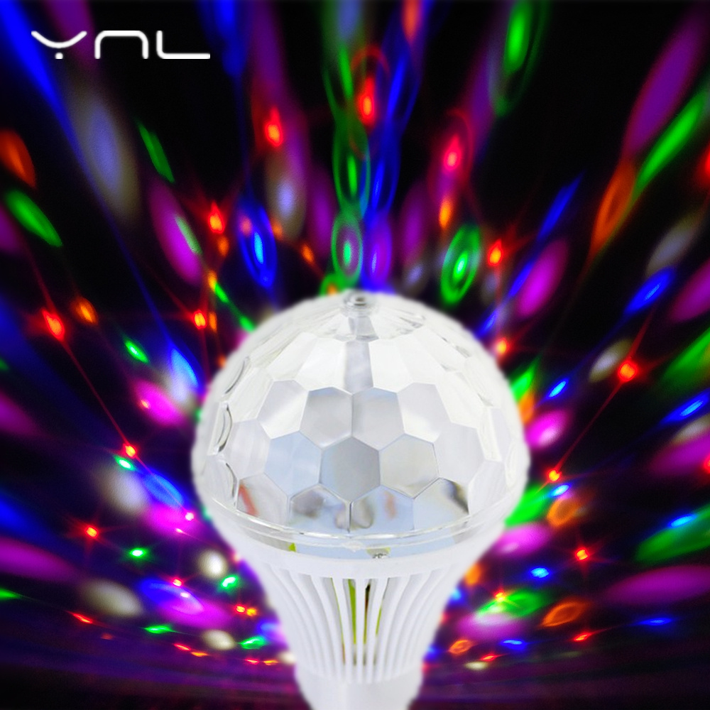 YNL LED Lamp Crystal Stage Light RGB 6W E27 Colorful Magic crystal Ball DJ Disco Party KTV Home effect Bulb Auto Rotating Lamp