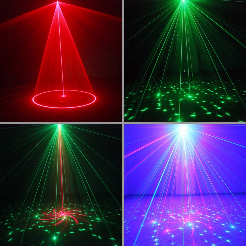 AUCD Remote Mini 24 Red Green Gobos Laser Effect Projector 3W Blue LED Light Wedding DJ Party Show Club Stage Lighting L24RG