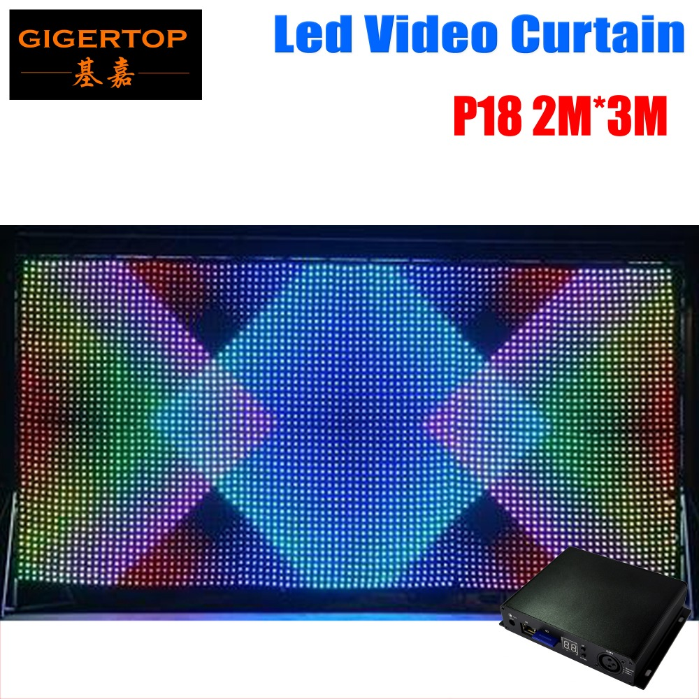 P18 2M*3M LED Video Curtain,Fast Ship LED Vision Curtain With Professional Line PC/SD Controller For DJ Backdrops LCD Display