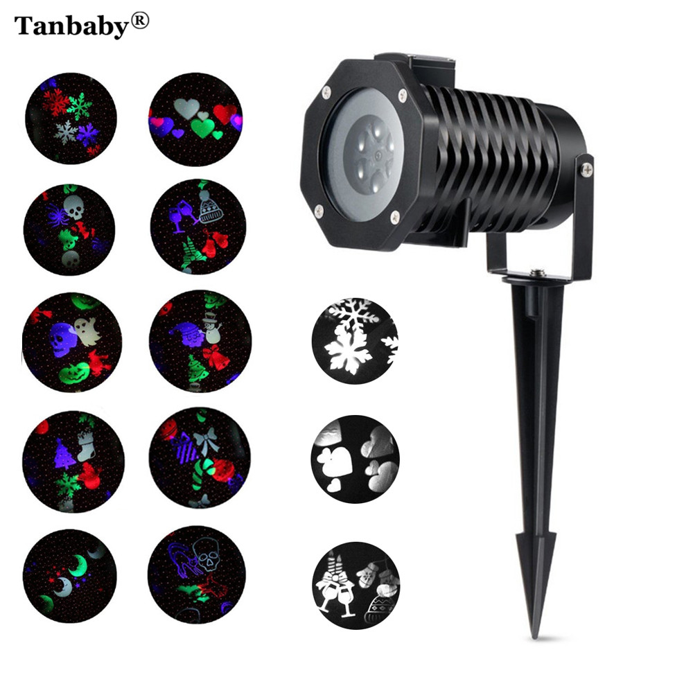 Tanbaby Outdoor 10 Type Moving Pattern Snowflakes Laser Projector Stage Light Garden Landscape Holiday Christmas Party lights