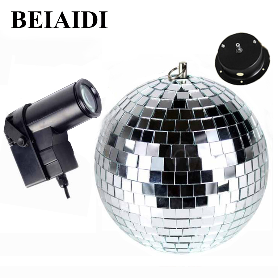 BEIAIDI D25cm Glass Rotating Mirror Reflection Ball With Motor + 10W RGB LED Pinspot Spotlight Beam Disco DJ Party Stage Light