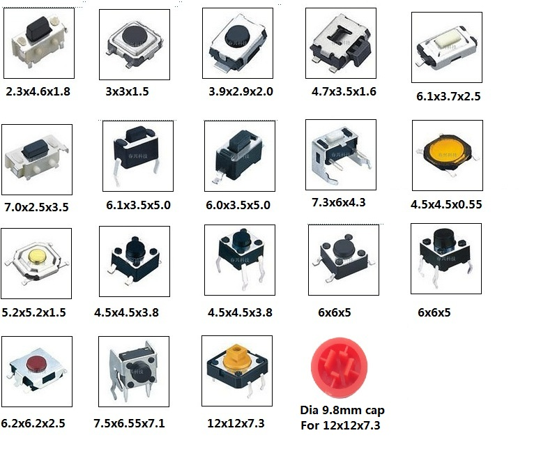 10pcs x 19 Models Through Hole and SMD Tact Switch Samples pack light touch tactile push button switches
