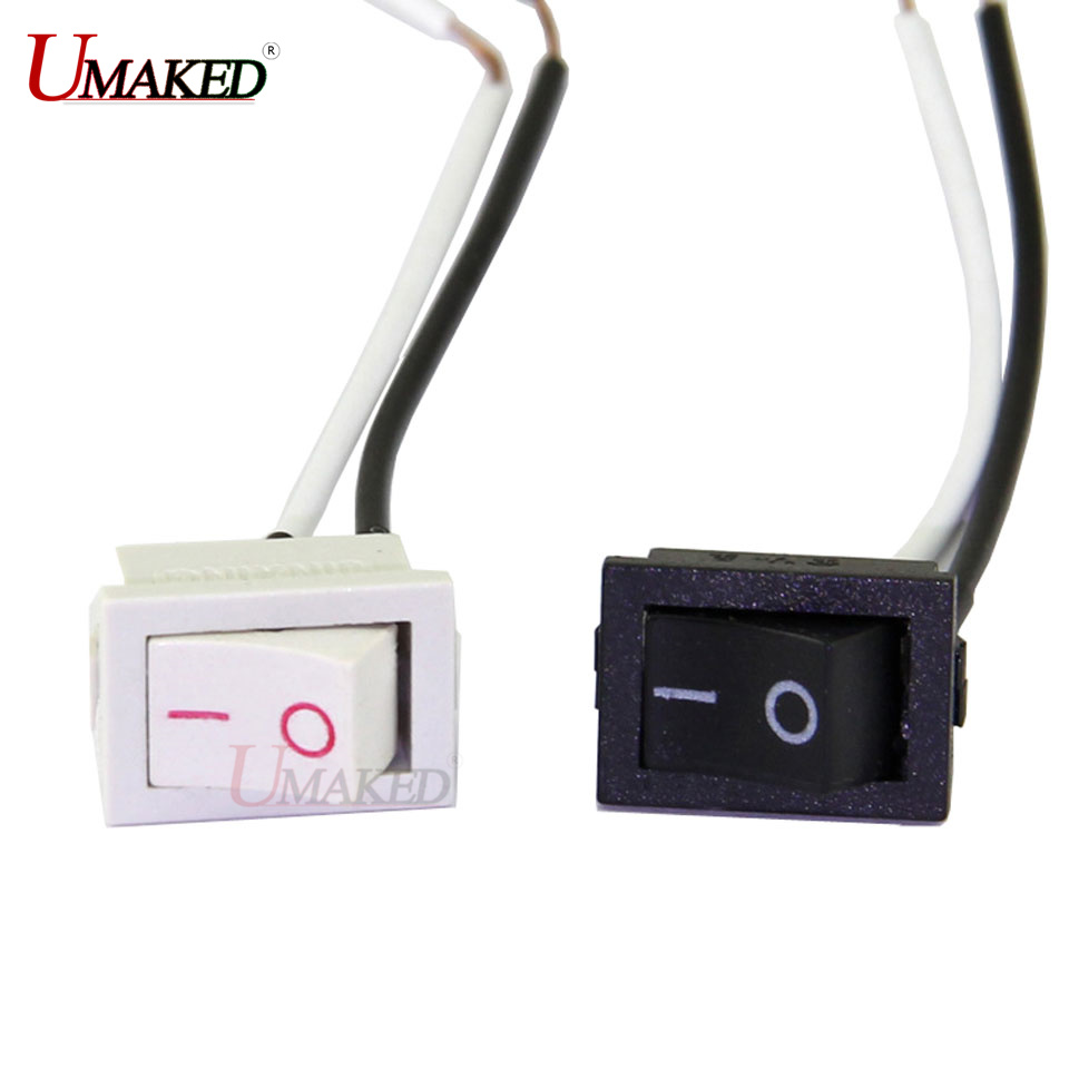 3A Switches with wire, White/ black color swiches for lamp, On/Off rectangle switches