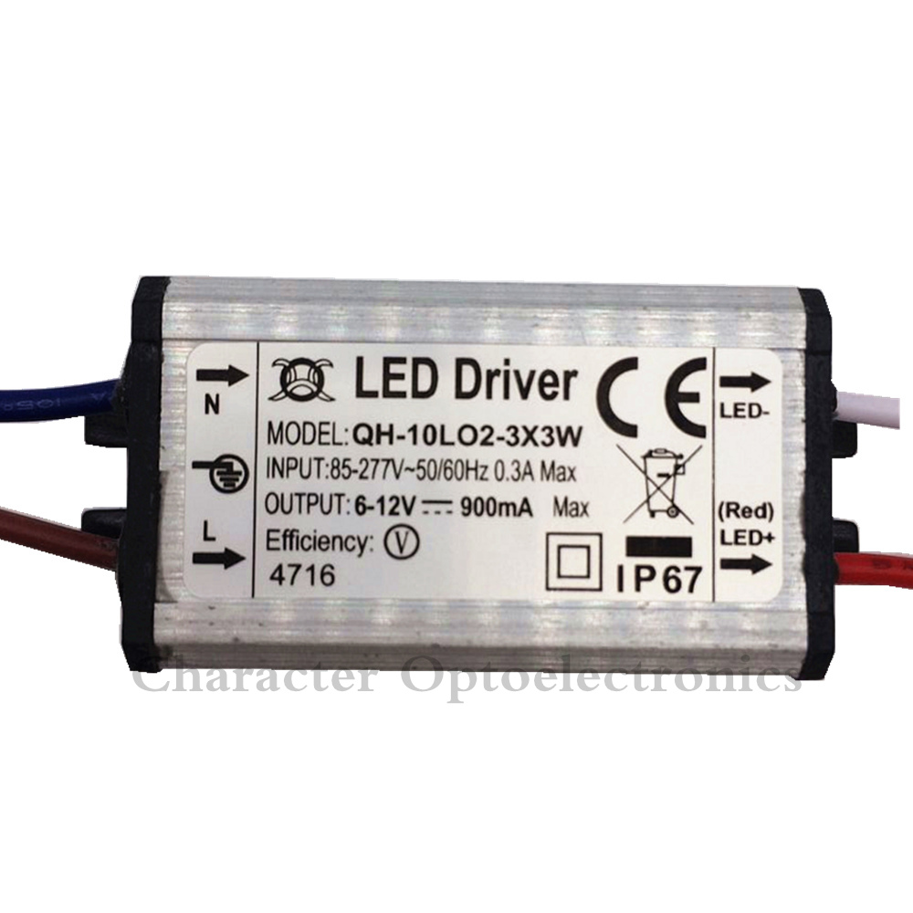 1pcs Waterproof Power Supply AC 110 220V LED Driver 2-3x3W 10W 900mA for 10w High power led chip light