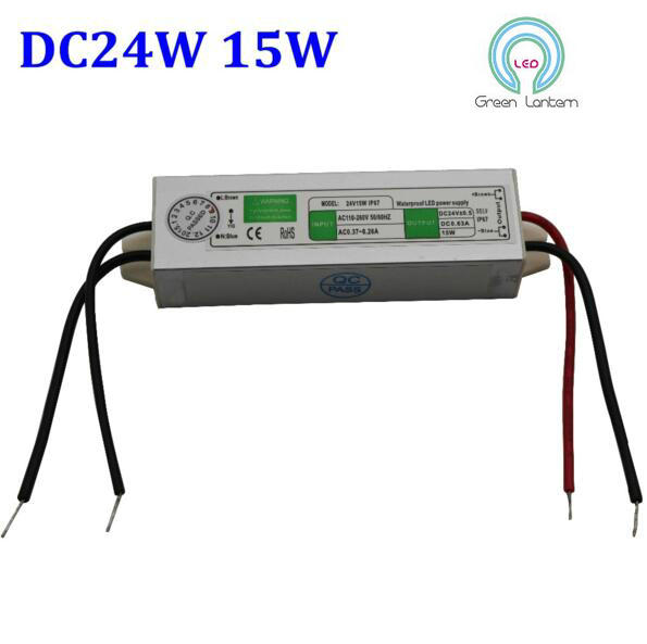 High quality DC 24V 15W IP67 Waterproof LED Power Supply AC110-260V Input Electronic LED Driver Transformer for LED Light Strips