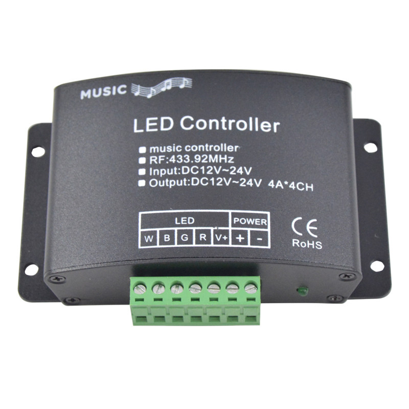 RGBW Music Controller with 24key RF Remote LED Music RGBW Controller DC12-24V for RGBW Led Strip Lights