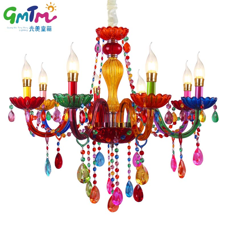 GMTM Hot luminaire NEW Art decoration Colorful glass led crystal chandeliers living room bedroom restaurant hotel bed chandelier