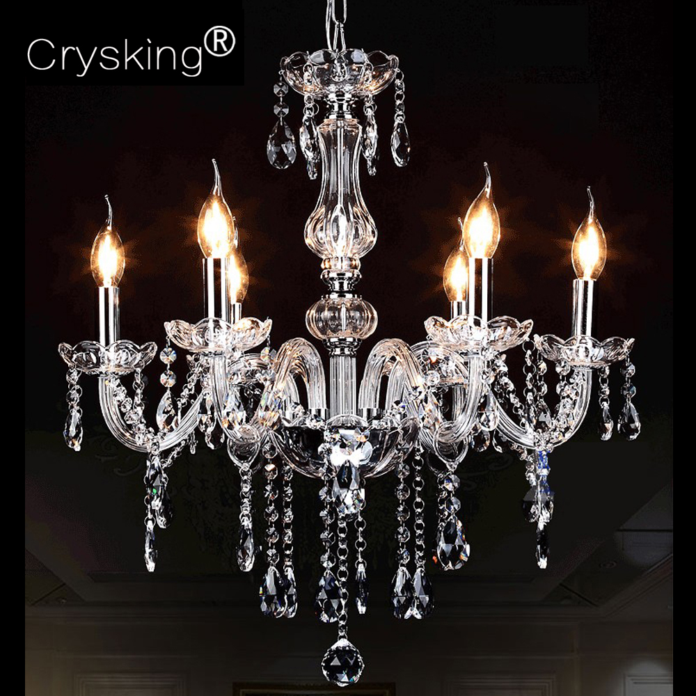 Crystal Chandelier Russia Modern 6 Arm Lustres de Cristal Living Room Lighting Indoor Lamp Luminaria for Wedding Christmas Decor