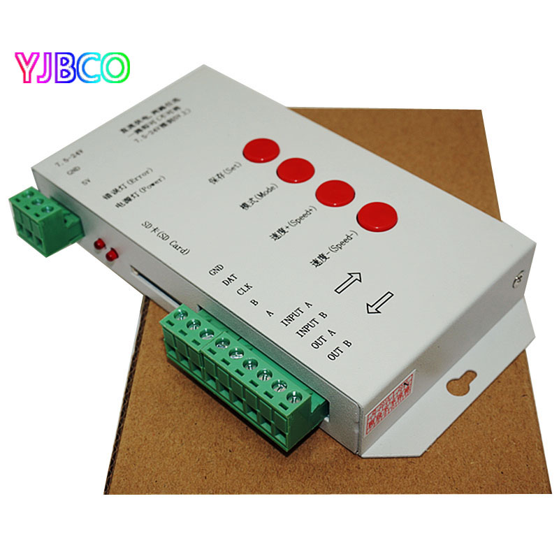 LED T1000S DreamController 128 SD Card Pixels RGB Controller,DC5~24V,for WS2801 WS2811 WS2812B LPD6803 LED 2048 strip light lamp