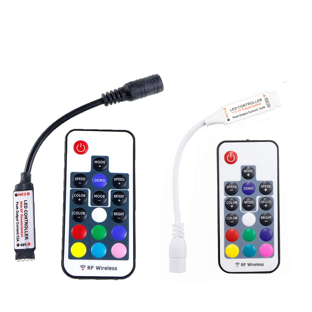 DC 5V-24V 12A 17key mini RF wireless led RGB remote Controller with 4pin female DC for 5050 RGB LED Strip Lights Black / White
