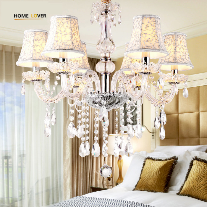 Modern Led Kitchen chandelier 6 Lamp With Lampshade Pendant Crystal Chandelier Light Fixtures lustres de teto para sala for home