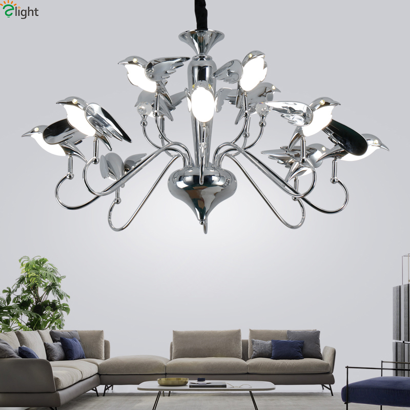 Modern Chrome Bird Led Pendant Chandeliers Lamp Acrylic Dining Room Led Chandeliers Lighting Living Room Hanging Lights Fixtures