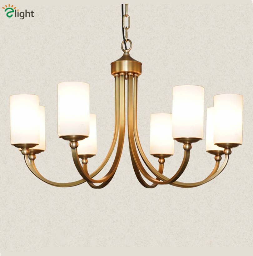 Modern Minimalism Copper E27 Led Chandelier Creative Lustre Milk White Frosted Glass Bedroom Diningroom Led Pendant Chandeliers