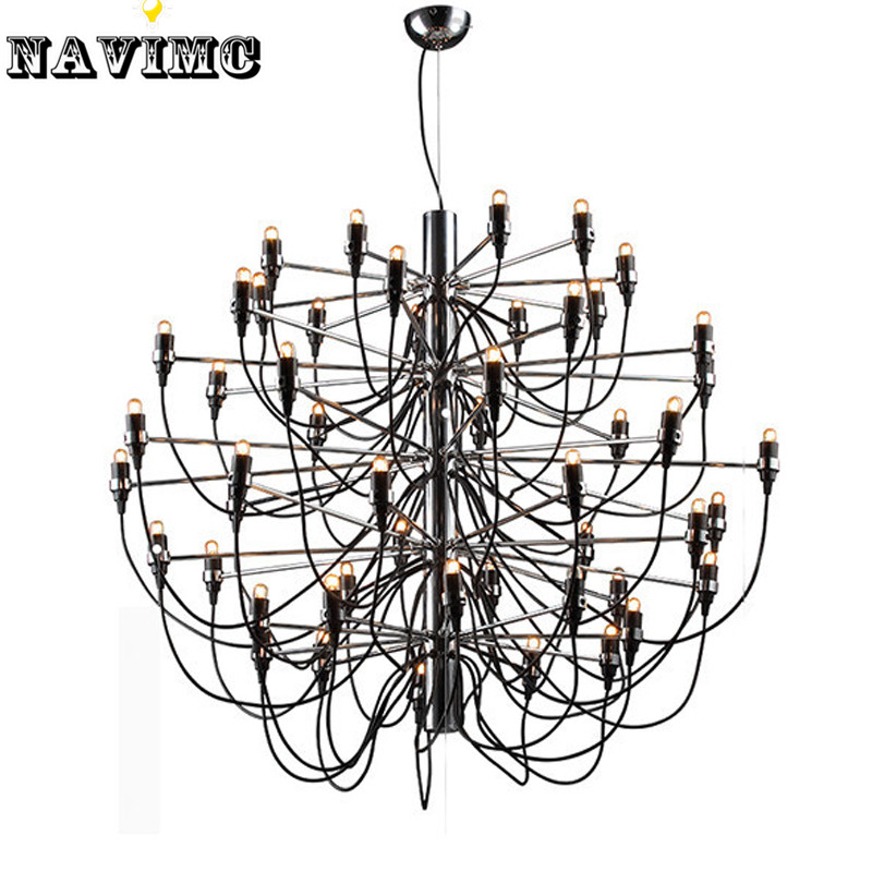Modern Large Big LED Black Chandelier Light  50 Bulbs Lamp for Dining Room Foyer Lamp Entryway Decoration