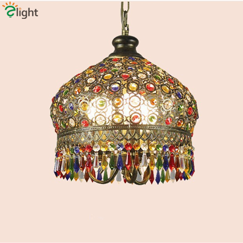 Bohemia Lustre Crystal Led Pendant Chandeliers Simple Metal Dining Room Led Chandelier Lighting Foyer Led Hanging Lights Fixture