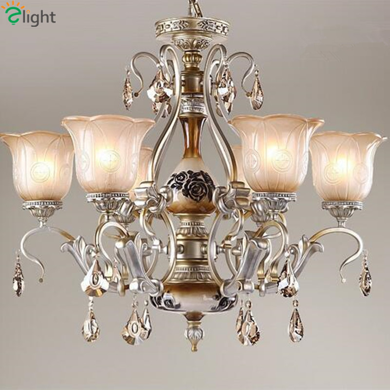 Europe Luxury Resin Led Chandeliers Lustre Crystal Glass Dining Room Led Chandelier Lighting Bedroom Led Hanging Light Lamparas