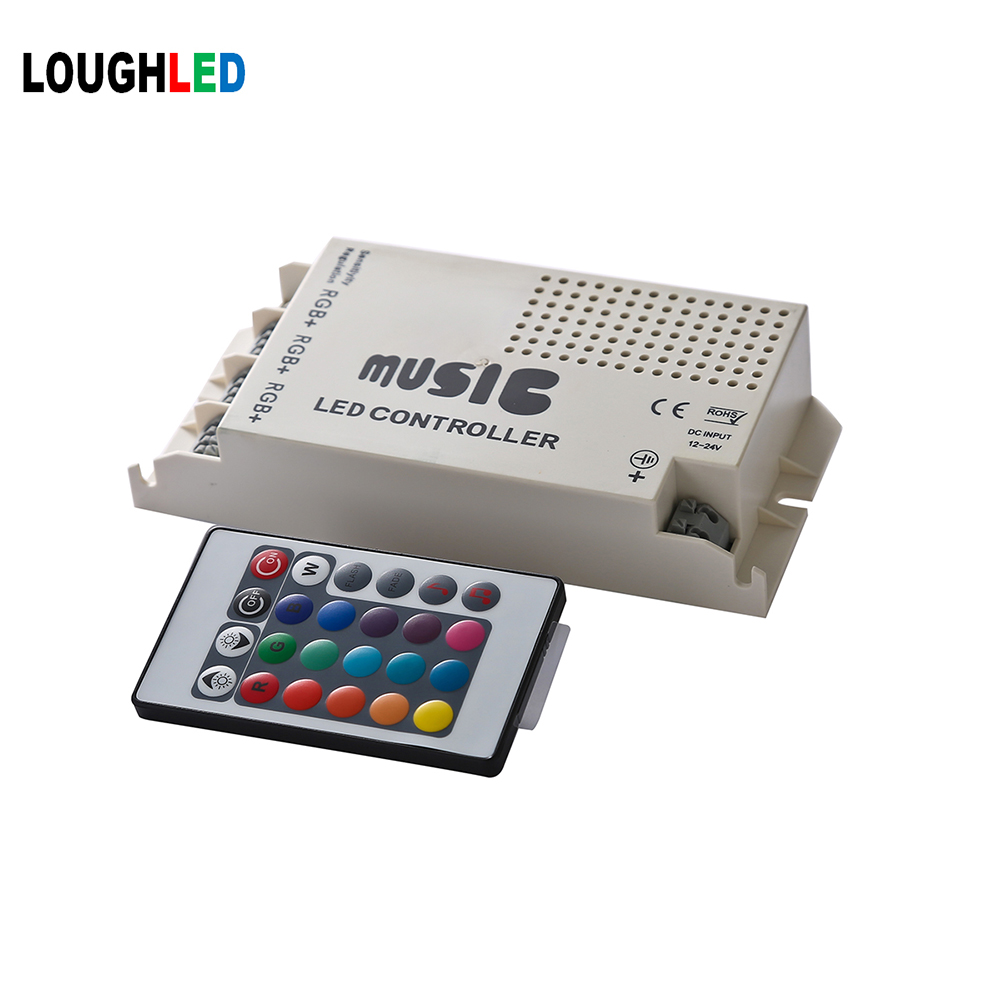 24keys wireless IR music RGB LED Controller DC12V~24V 9A(3*3A) 108W sound controller for rgb LED Strip