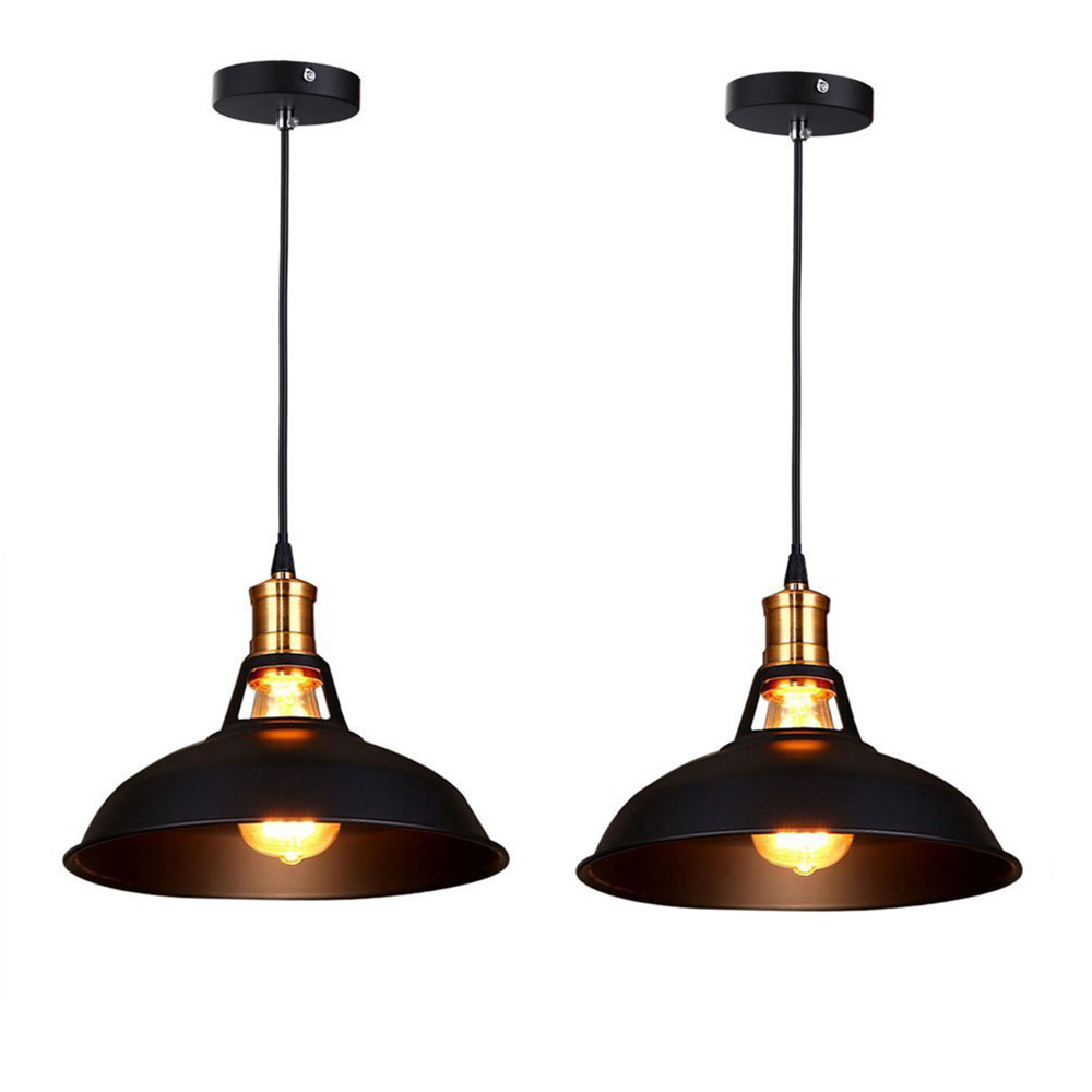 Retro Industrial Simplicity Chandelier Vintage Ceiling Lamp with Metal Shiny Nordic style Shade (Set of 2 Black)