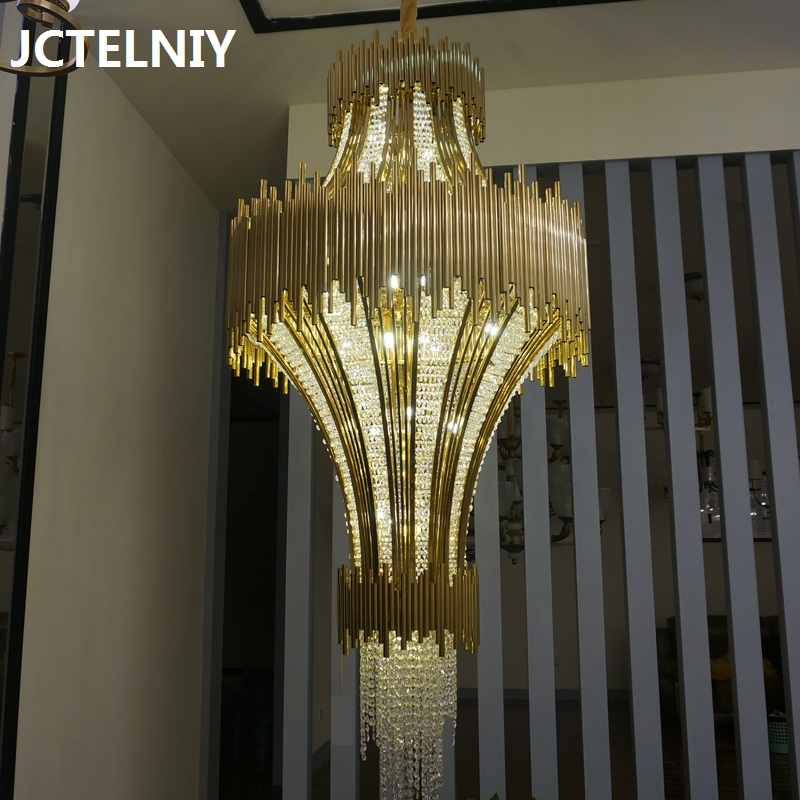 Deluxe crystal chandelier stair hotel lobby project LED penthouse chandelier for living room Dia800xH1650mm